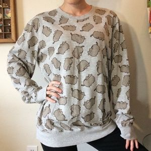 PUSHEEN Kitty Cat Print Grey Pullover Sweatshirt